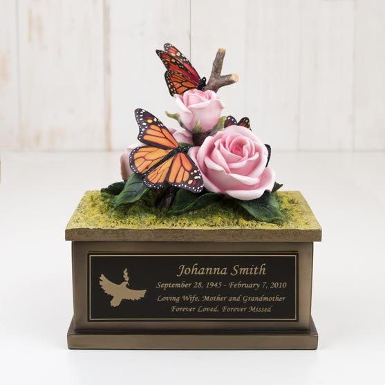 Small Butterfly and Roses Urn