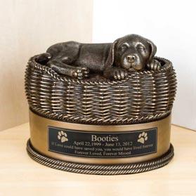 Large Dog In Basket Urn